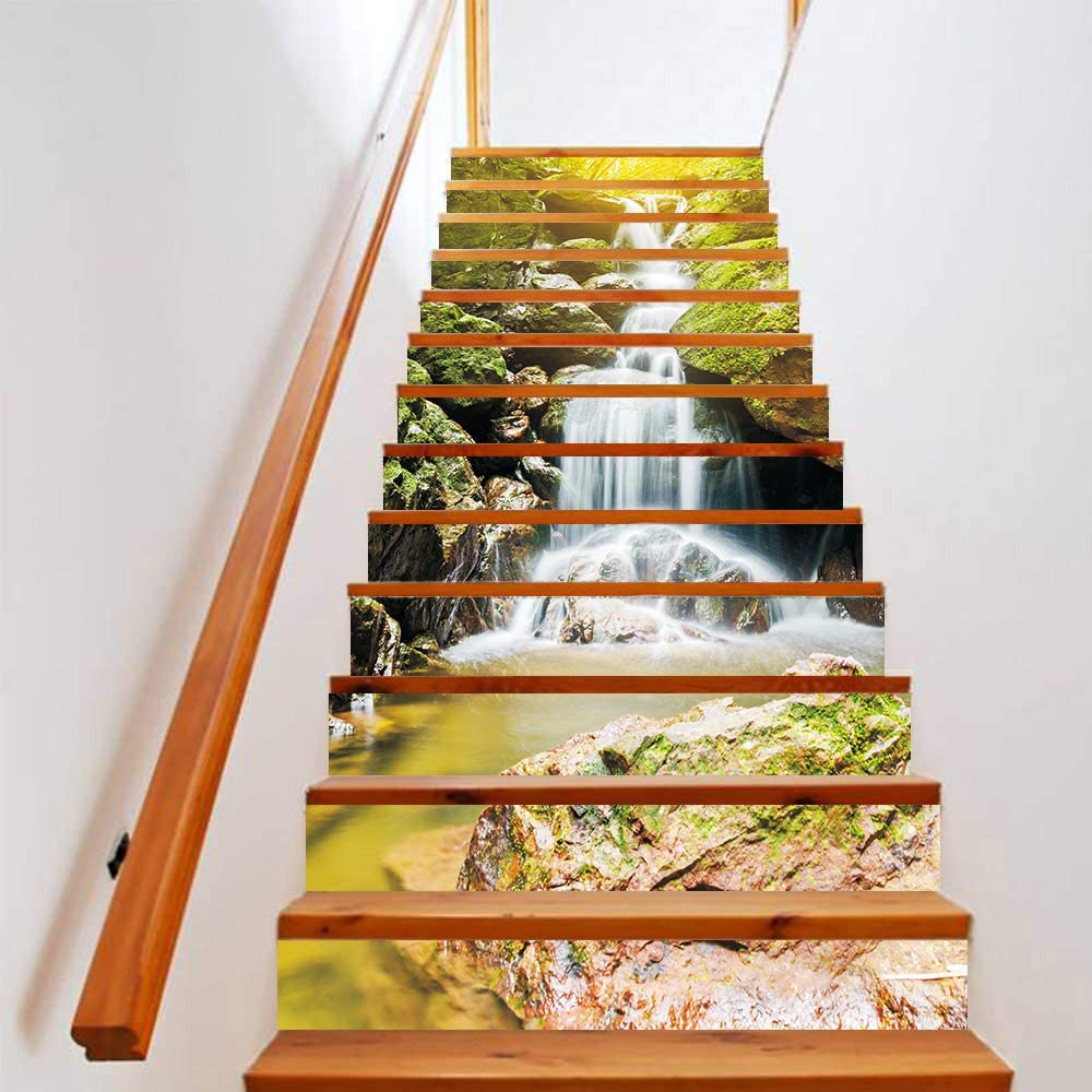 3D Waterfalls Self-Adhesive Stairs Risers Natural Landscape Mural Vinyl Decal Wallpaper Stickers Decor Decals 39.3Inch x7.08Inch x 13PCS(LTT-035)