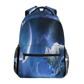Galaxy Wolf Moon Mochila para portátil, resistente al agua, para estudiantes, viajes, informática, para hombres, mujeres, niños y niñas: Amazon.es: Oficina ...
