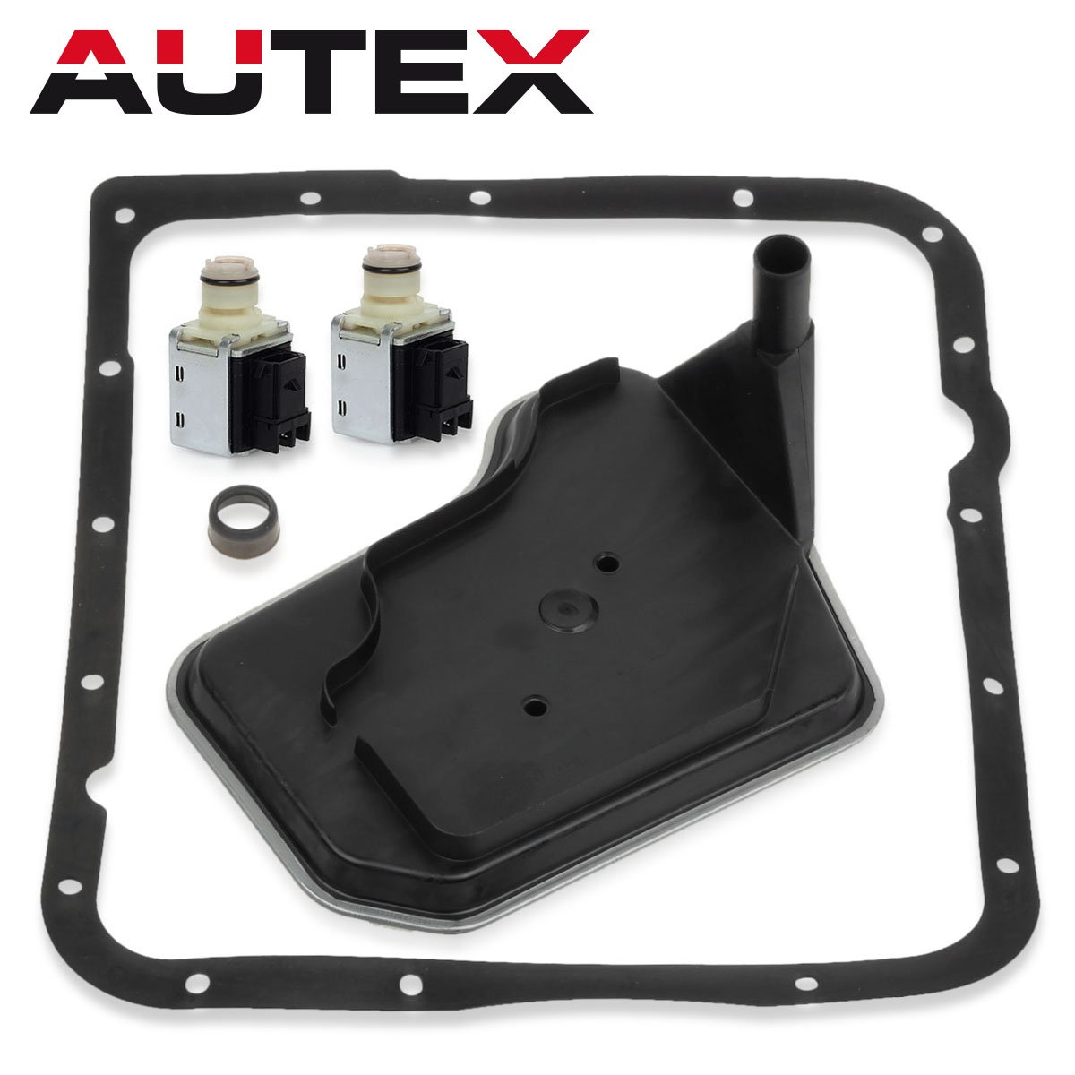 AUTEX 2PCS 4L60E Transmission Shift Solenoid Valve with Filter (DEEP PAN) Gasket Kit Set A&B replacement For Buick Rainier 04-07/Chevy Astro 04-07/Chevy Blazer 04-07/Chevy Cam 98-02