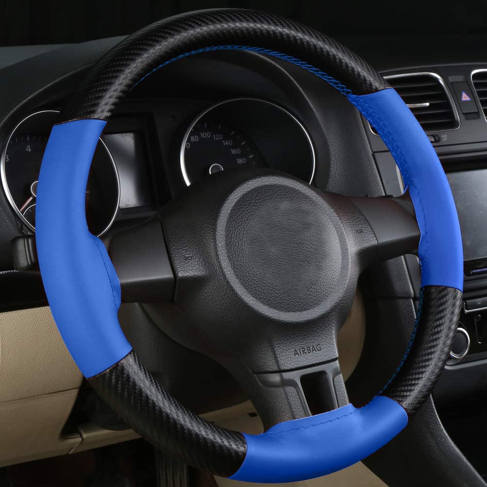 JOAN DOMINGUEZ 1pcs Car Steering Wheel Covers DIY Car Truck Leather Steering Wheel Cover With Needles and Thread A