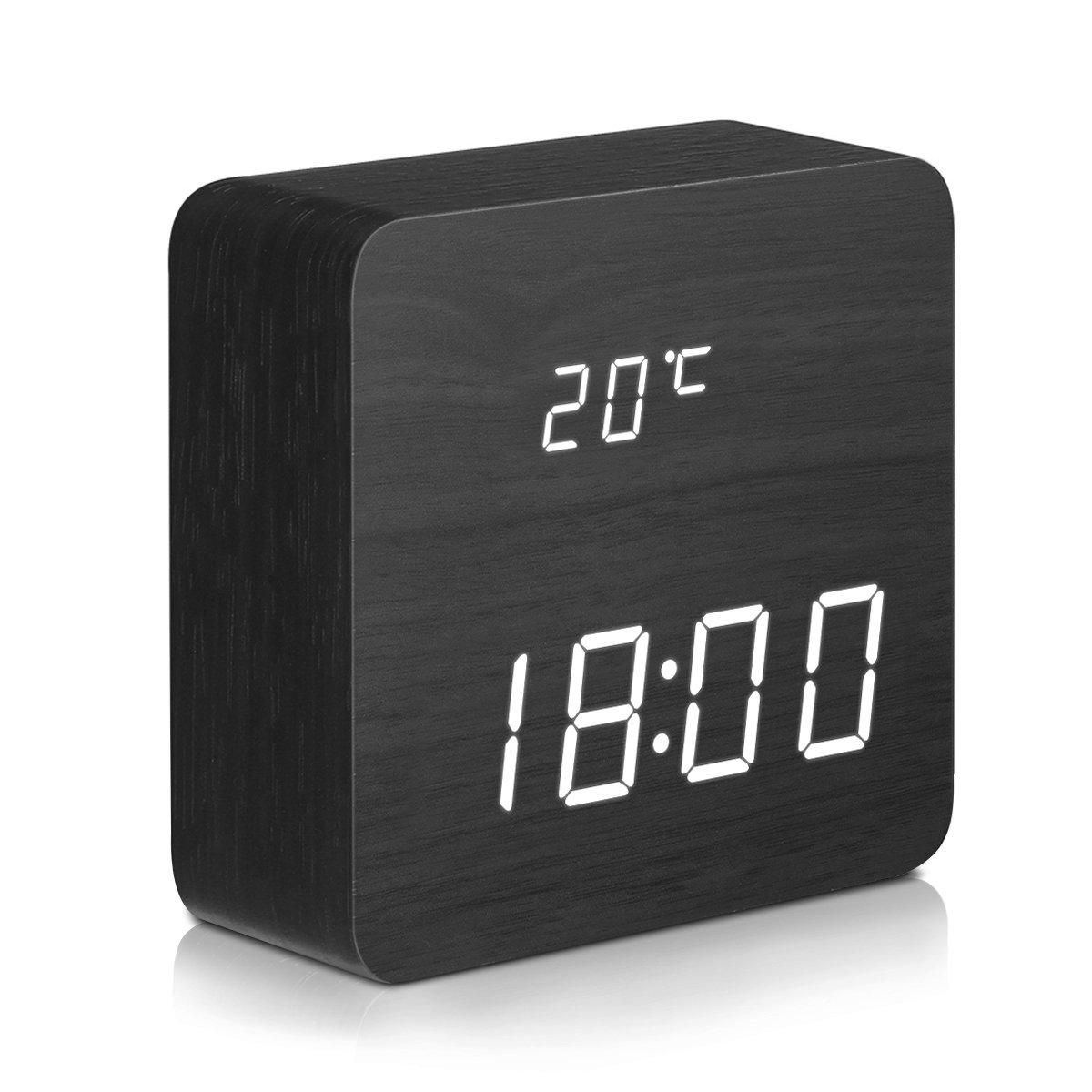 DIGOO dg-ac1sveglia digitale LED in legno con 3gruppi di allarme, temperatura e visualizzazione della data, 3Luminosità regolabile, commandevocale, 2modalità di visualizzazione Nero Viceirye_FR DIGOOviceiryefr264
