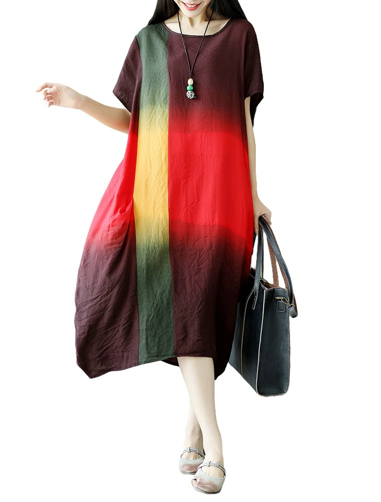 Mordenmiss Women's Casual Sundress Summer Loose Travel Dresses M Red