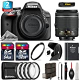 Holiday Saving Bundle for D3300 DSLR Camera + AF-P 18-55mm + 64GB Class 10 Memory Card + 2yr Extended Warranty + 32GB Class 10 Memory Card + Backup Battery + 4PC Marco Kit - International Version