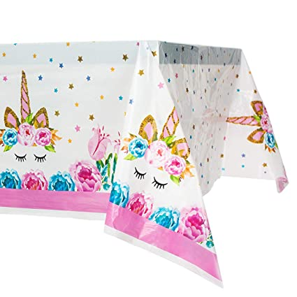 Unicorn Plastic Tablecloth Unicorn Disposable Table Cover For Unicorn Birthday Party Decoration Unicorn Magic Birthday Party Supplies For Girls Or