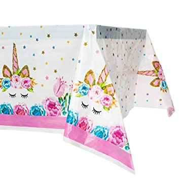 Amazon.com: Mantel de plástico de unicornio desechable para ...