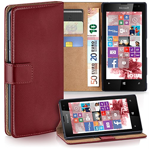 moex Nokia Lumia 520   Phone Case with Wallet 360 Degree Book Phone Cover with Card Holder - Dark-Red (Nokia Lumia 520 Case Protector)