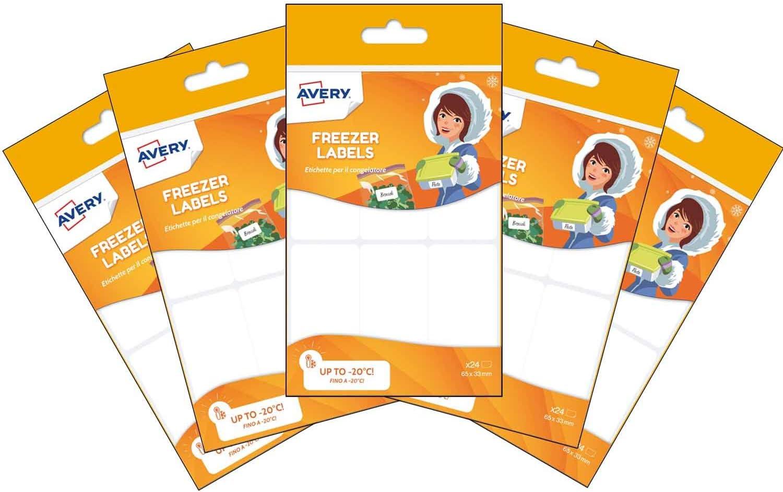 Avery España CONG24-UK-5 Bolsas de Etiquetas blancas adhesivas para Congelados Total 120 etiquetas: Amazon.es: Oficina y papelería