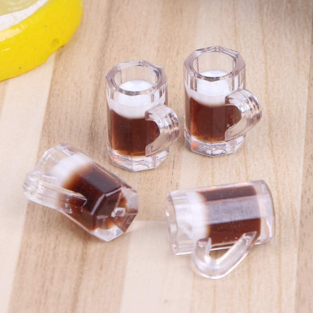 fivekim Jouets pour Enfants 4 pi/èces 1:12 /échelle Jouet Cuisine bi/ère Tasses /à Boire Maison de poup/ée Miniature Tasse Accessoire Enfants Jouet poup/ée Accessoires-Jaune