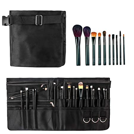 aac7a5af062b Amazon.com   LALATECH Professional Cosmetics Artist Storage Zipper Apron  Makeup Artist Brush Waist Bag Fiber Material Large Capacity Empty Pockets( Black)   ...