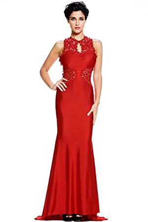 New red & nude mesh flower lace long evening dress prom dress cocktail dress party wear