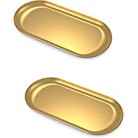 """Lolalet 2 Pack Stainless Steel Towel Tray Storage for Candles, 7"""" Bathroom Soap Dish Tea Plate, Gold Metal Dresser Trays…"""
