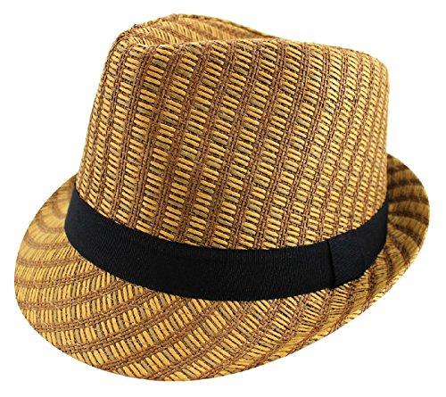 TDmall Classic Fedora Hat Trilby Panama Straw Cuban Cap Summer Beach Derby Short Brim (Gangster Outfits For Men)