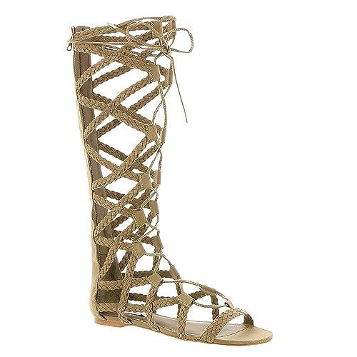 2386c5ae70ff Steve Madden Women s Sammson Knee High Gladiator Sandal