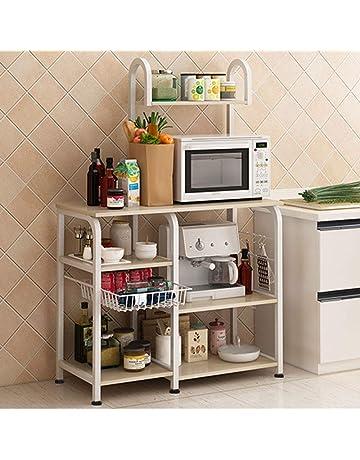 3 Shelves Unit Microwave Oven Stand Bakers Rack Storage Organization Rack Kitchen Utility Workstation Standing Shelf W5S-BK-BH sogesfurniture 3