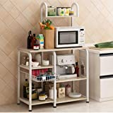 "Mr IRONSTONE Kitchen Baker's Rack Utility Storage Shelf 35.5"" Microwave Stand 3-Tier+4-Tier Shelf for Spice Rack Organizer Wo"