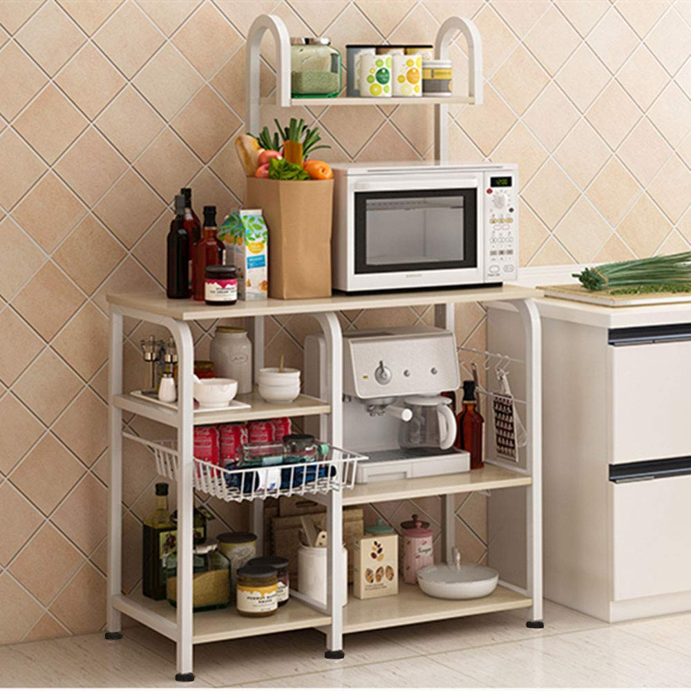 Mr IRONSTONE Kitchen Baker's Rack Utility Storage Shelf 35.5'' Microwave Stand 4-Tier+3-Tier Shelf for Spice Rack Organizer Workstation (Light Beige)