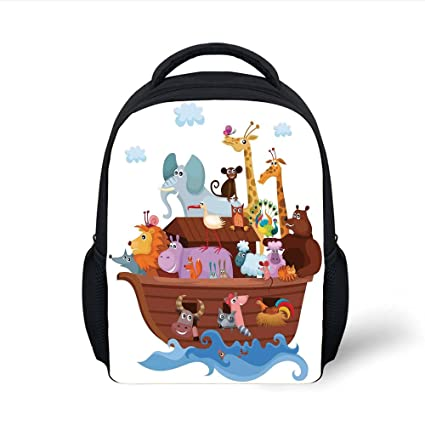 iPrint Kids School Backpack Noahs Ark,Happy Animals in Noahs Ark Clipart  Religion Theme Waves f03ef18ef7