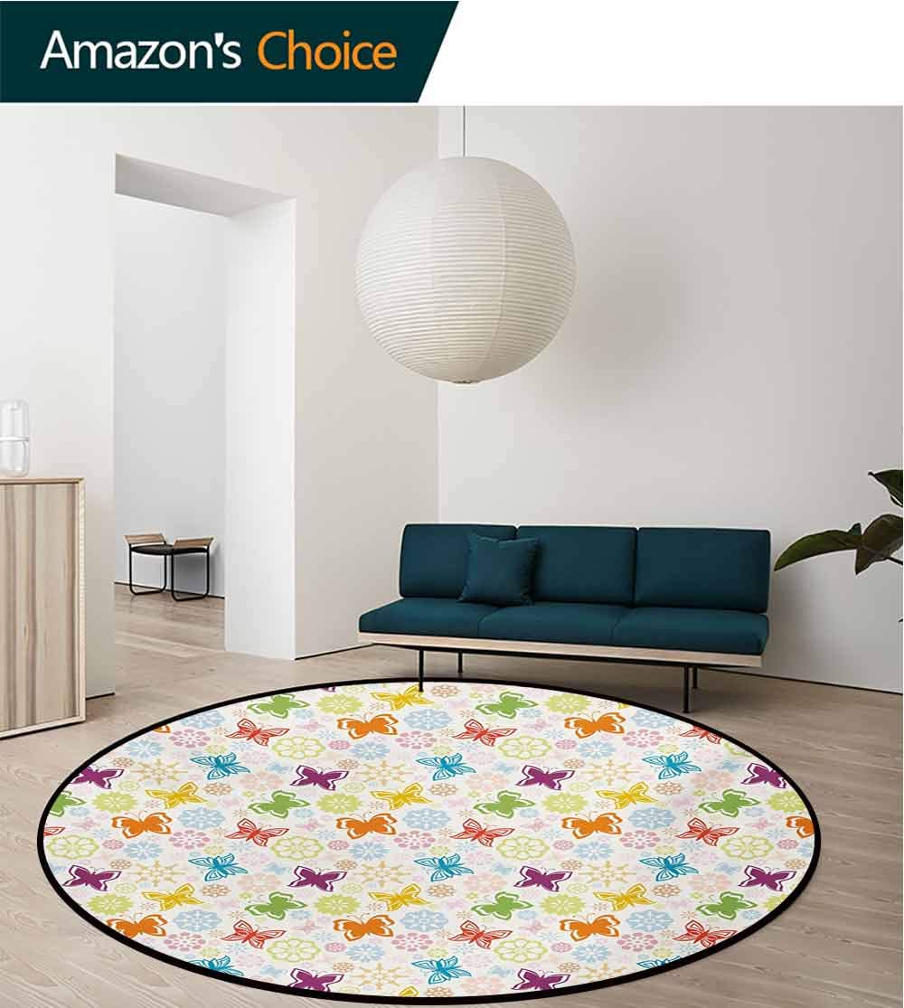 RUGSMAT Butterfly Modern Flannel Microfiber Non-Slip Machine Round Area Rug,Cartoon Style Animal Silhouette with Flower Patterned Background Vibrant Image Floor Mat Home Decor,Diameter-71 Inch