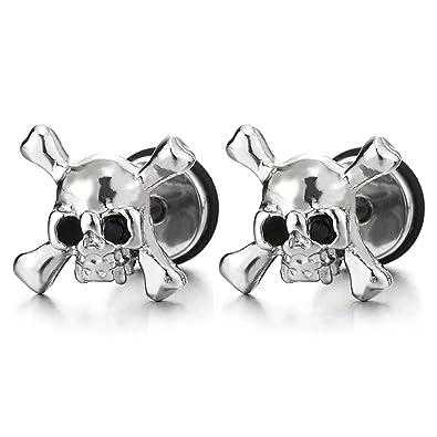 f90b4a9e38cd3 Amazon.com: Stainless Steel Pirate Skull Stud Earrings for Men Boys ...