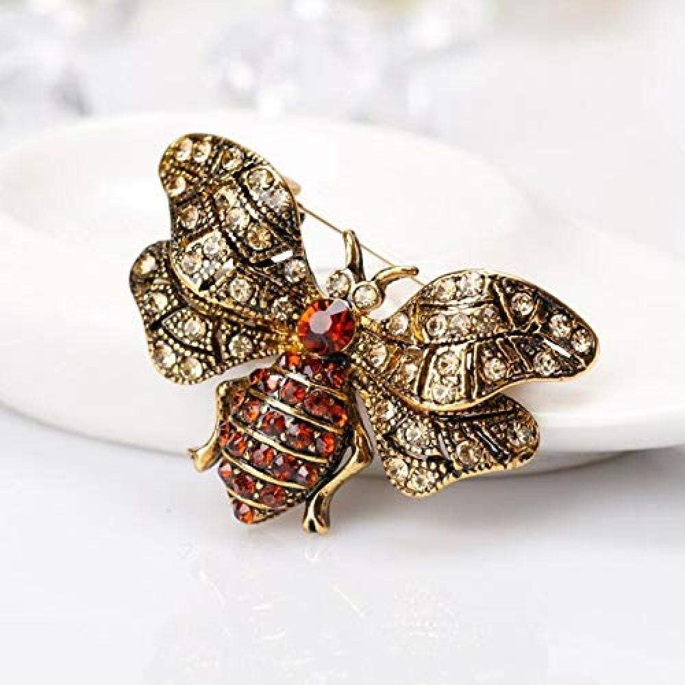 Silk Scarf Buckle Coat Western Ornament Badge Christmas New Year Gift Bronze Pin Red Rhinestone Bee Brooch