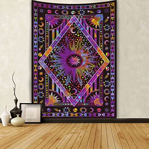 Colored Tapestry (Twin Blue Tie Dye Purple Burning Sun Tapestry Celestial Sun Moon Planet Tapestries Psychedelic Tapestries Bohemian Indian Tapestry Hippy Tapestry (51.2