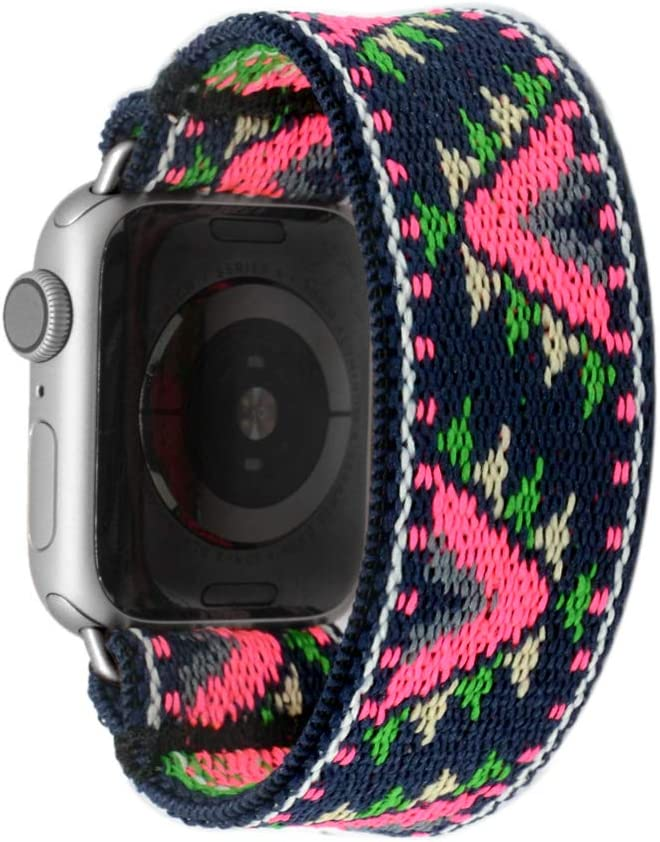 Tefeca Pink V Pattern Stretch Elastic Compatible/Replacement Band for Apple Watch 38mm/40mm (Silver Adapters, S fits Wrist Size : 6.0-6.5 inch)