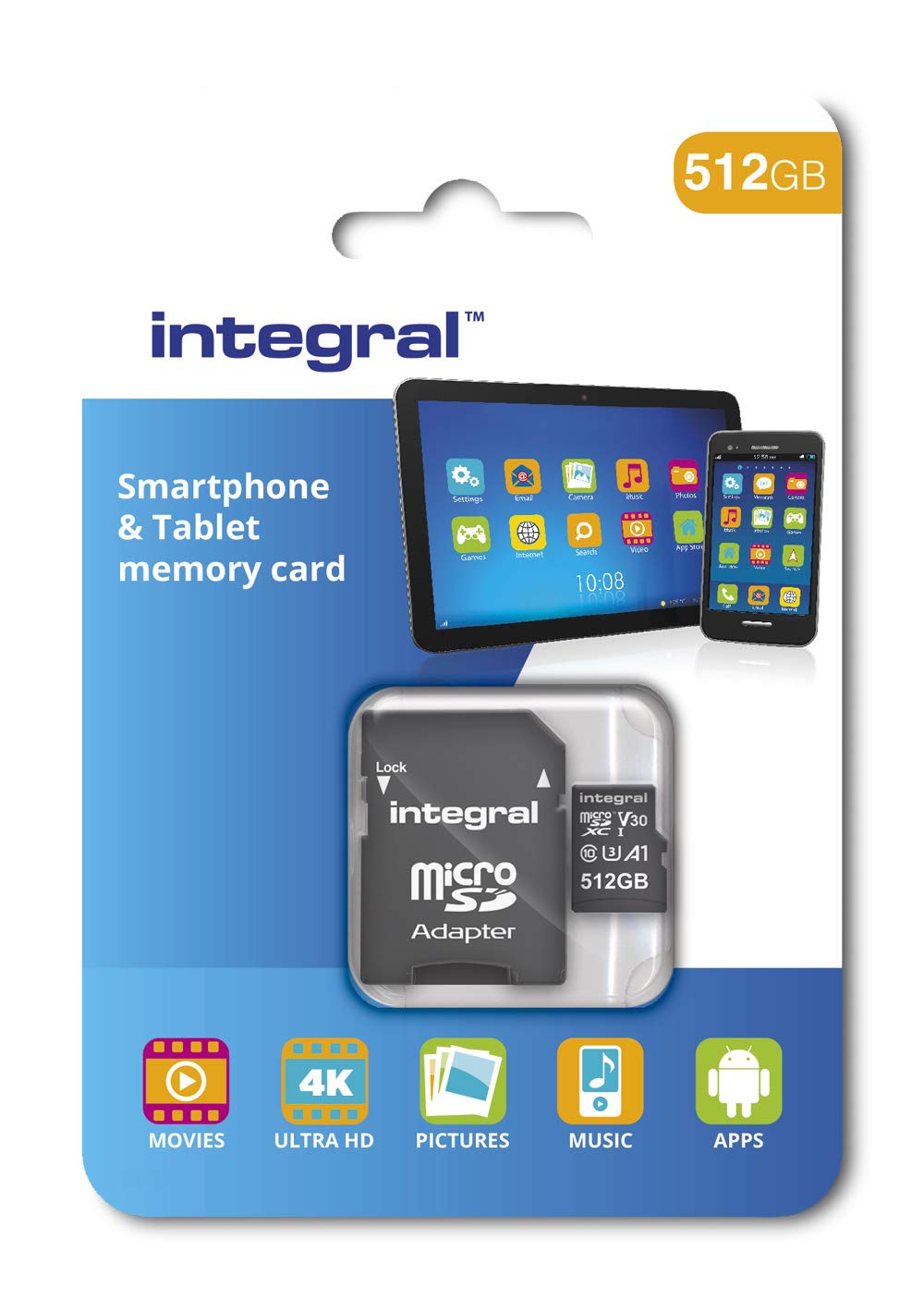 Integral 512GB micro SD card High Speed memory microSDXC for Smartphones  and Tablets Up to 100MB/s V30 UHS-I U3