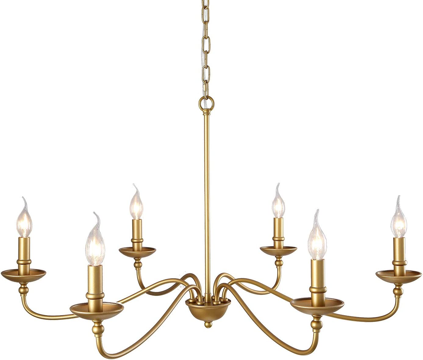 SEOL-LIGHT 36 Dia Classic Candelabra Style Large Branch Chandeliers Ceiling Hanging Pendant Light Fixture 6 Light 240W Antique Brass Painted Finish