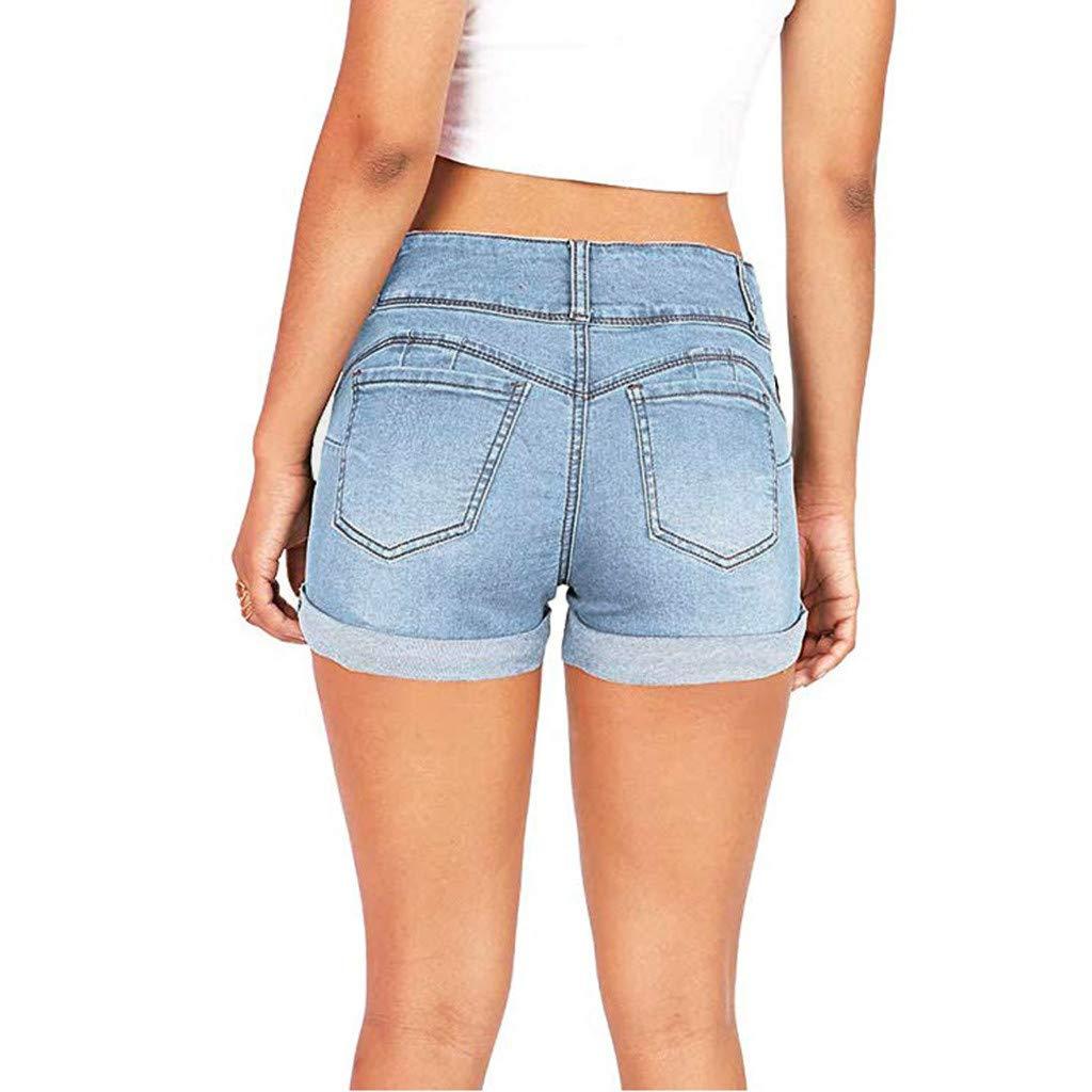 2d22cb288c97c7 Damen FRAUIT Damen Jeansshorts Low Waisted Solide Mini Jeans Denim Hose  Lässige Kurze Hosen Washed Bermudas ...