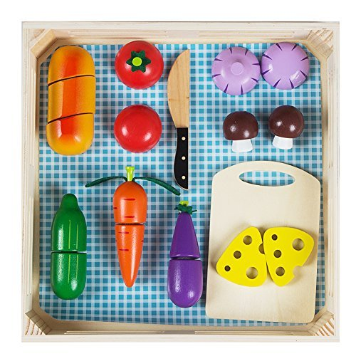 Wooden Cutting Board Toys, Kitchen Toys Cutting Vegetables Set with Knife and Cutting Board (21 pcs)