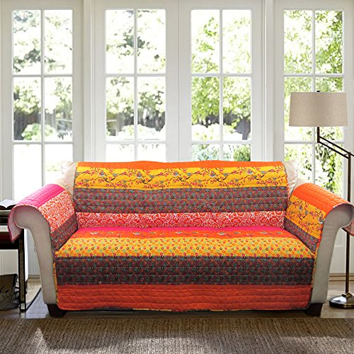 Lush Decor Royal Empire SlipcoverFurniture Protector for Sofa Tangerine