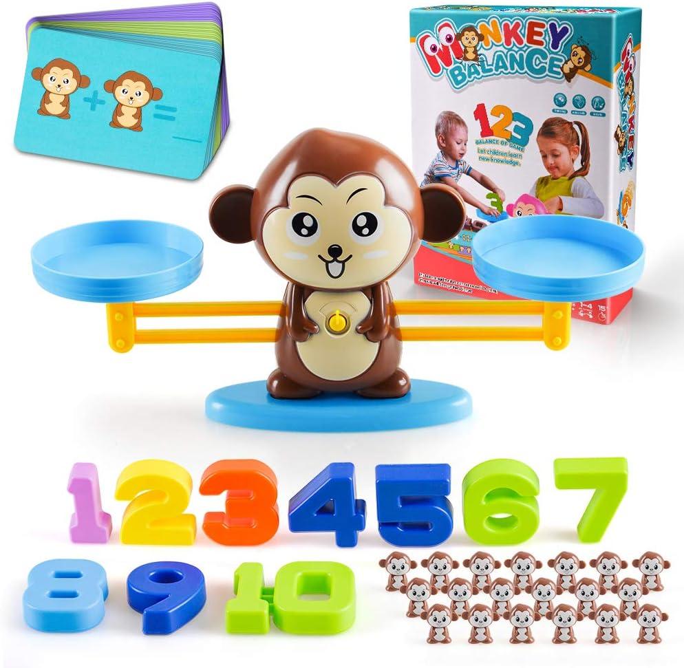 CITOY Juguetes Educativos de Recuento Matemático Equilibrio Mono para Niños Pequeños - Juguetes Matemáticos Divertidos