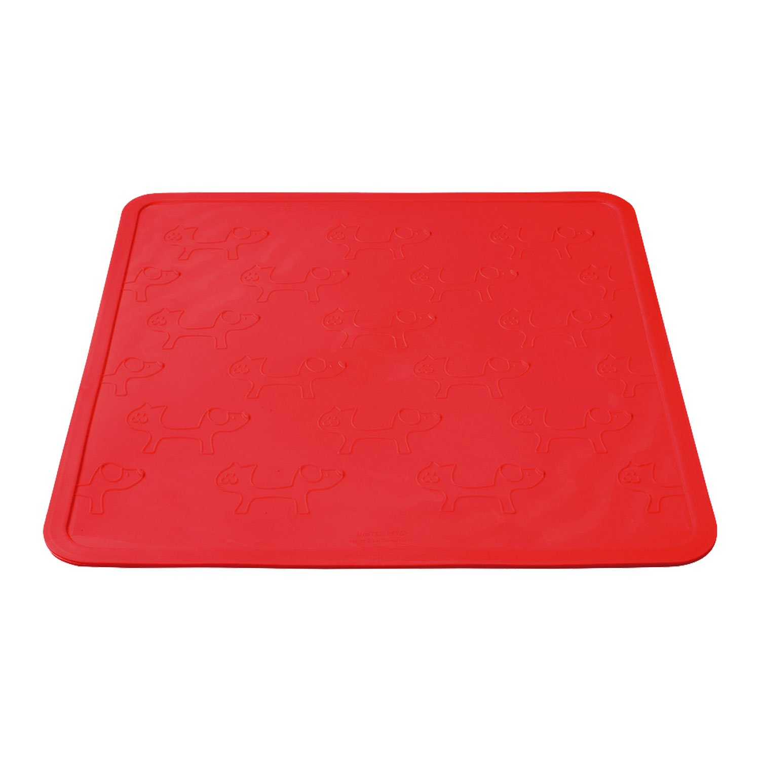 17.5-Inch by 17.5-Inch Petego United Pets Mustafa Pet Bowl Mat, Red, 17.5-Inch by 17.5-Inch