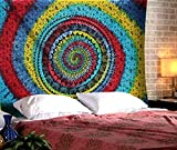 The Indian Craft Psychedelic Mandala Tapestry Bohemian Elephant Hanging Tie Dye Tapestries Hippie Wall Decor Twin Size Bedding Pure Cotton Home Decorative Table Cloth Cover Option