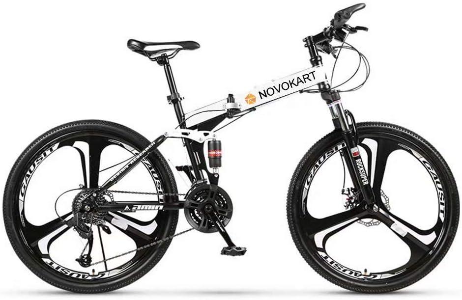 Novokart-Plegable Deportes/Bicicleta de montaña 24/26 Pulgadas 3 Cortador, Blanco