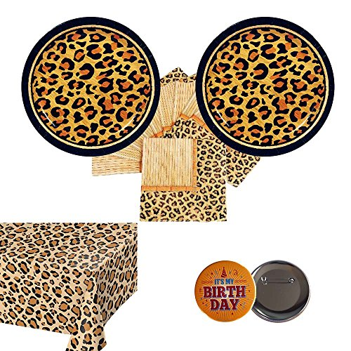 Leopard Print Paper Plates (Razzle Dazzle Celebrations 02 Cheetah Leopard Party Supplies for 16 Guests - Cake Plates, Napkins, tablecover + Birthday)