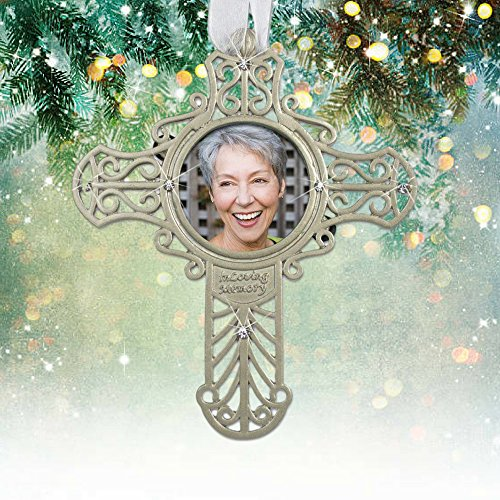- BANBERRY DESIGNS Memorial Cross Photo Ornament - Silver Metal Filigree with Picture Opening - in Memory of a Loved One 4.25
