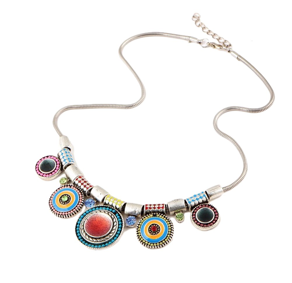 Hosaire Women Necklace Alloy Plated Retro Pendant Hanging Curb Chain Long Chain Costume Jewellery Necklace(Colorful)