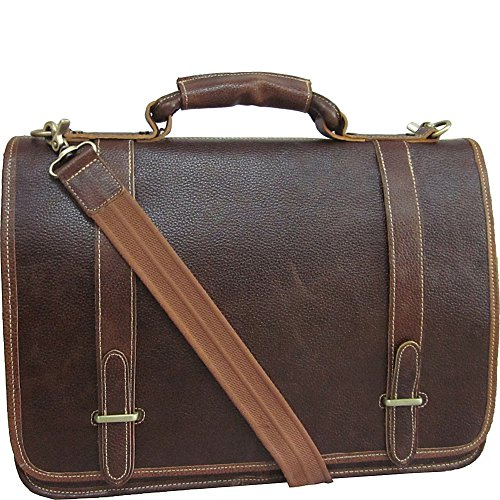 Double Gusset Flap Over Briefcase - AmeriLeather Traditional Double Slip-in Executive Briefcase (Brown)