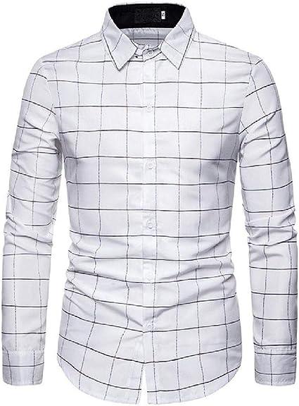 Camisa a Cuadros de Cuadros Grandes de Manga Larga para Hombres Camisas de Vestir de Manga Larga de Corte Slim Hombres Casual de Negocios: Amazon.es: Ropa y accesorios