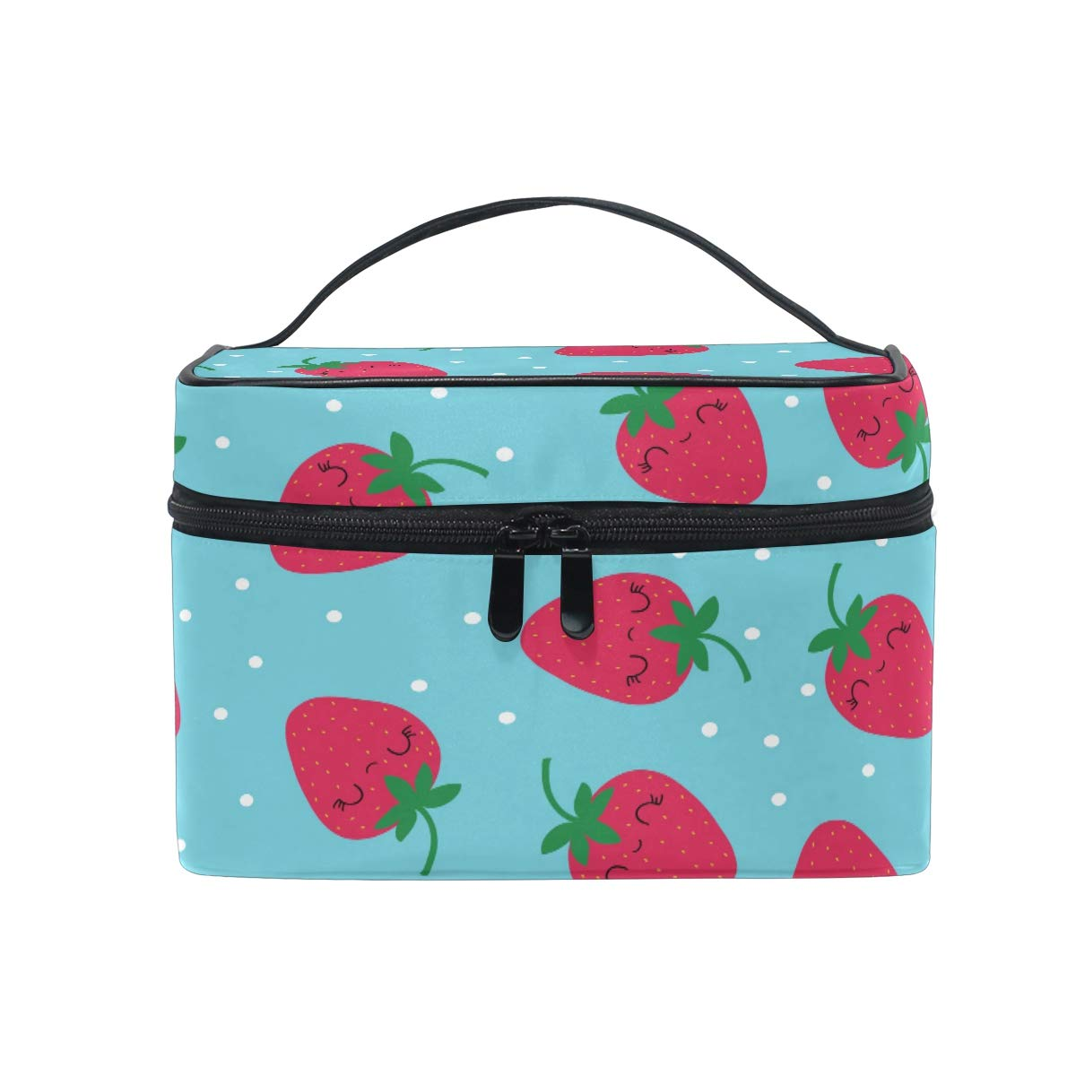 Amazon com : MOFEIYUE Travel Makeup Bag Polka Dot Strawberry