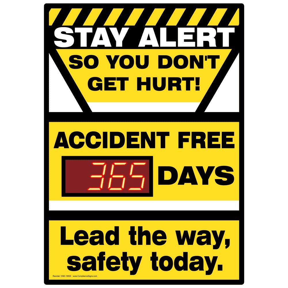 ComplianceSigns PVC Digital Safety Awareness Scoreboard, 28 x 20 with Red LED Counter, Yellow