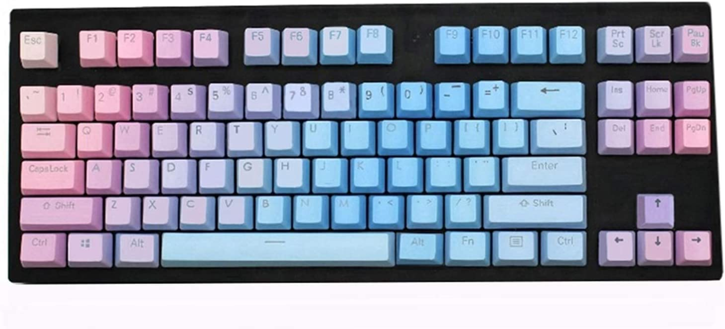 Color : 108 Key Keyboard keycaps Sunset Blue Gradient PBT Keycaps Double-Shot Profile Fit Gateron Kailh Outemu Switches for Mechanical Keyboards