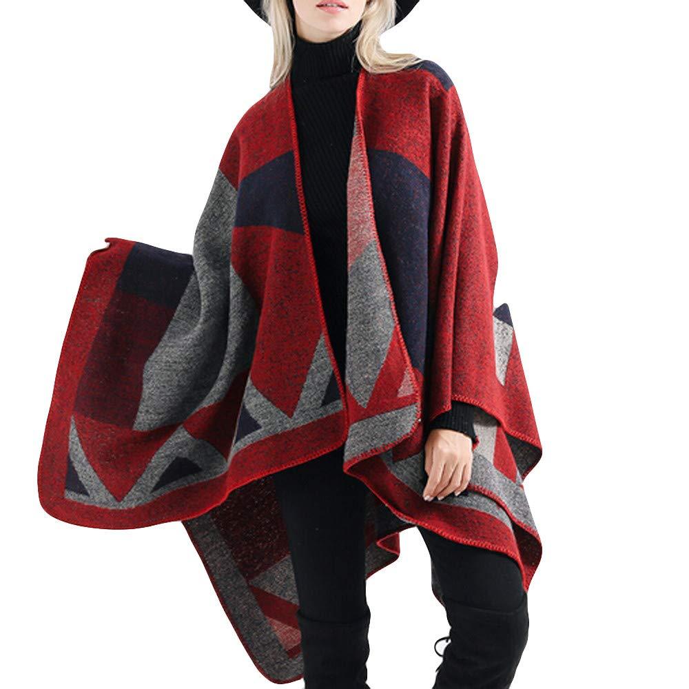 Ponchos Cape Femme Hiver, Koly Kimono Cardigan Élégant Tartan Couverture Chandail Shawl Longues Châle Veste Couvrir Sweater Gilet Grande Taille Mode Vêtements Femmes Hiver d'extérieur