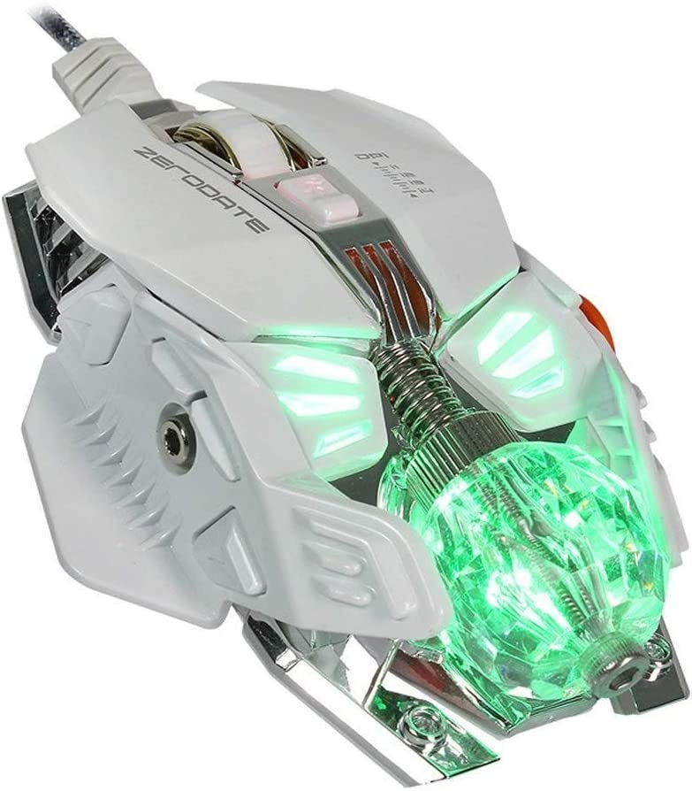 Wang5995 Office Home Mouse Gaming Mouse 8 Programmable Buttons,4 Levels Adjustable DPI/&LED Light Ball Computer Mouse Color : White