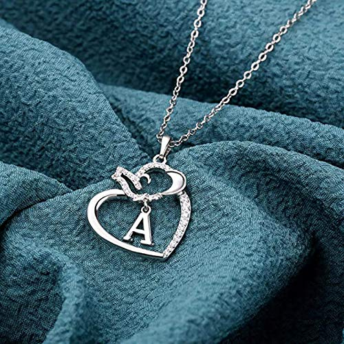 Sterling Silver Heart Necklaces for Women- Alphabet Heart Pendant for Women Girls Valentine's Day