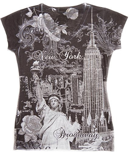 Sweet Gisele NYC T Shirts for Women New York 3D Skyline V Neck Rhinestone Bling