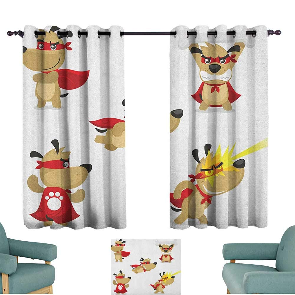 Anzhutwelve Dog,Grommet Window Treatment Set Superhero Puppy with Paw Costume and Mystic Powers Laser Vision Supreme Talents 100''x108'' Indo Treatments for Short Indo