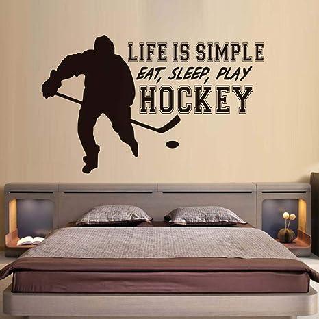 HNXDP La vida es simple Comer dormir Jugar Hockey Pegatinas ...