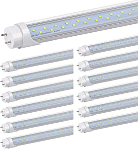 Kihung 4FT LED Tube Light Bulbs T8 T12, 24W 6000K Daylight White 3120LM, 4 Foot T12 LED Replacement for Fluorescent Light, Garage Shop Light Tube, Ballast Bypass, Dual-end Powered, Clear Lens, 12-Pack